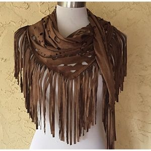 NWOT Faux suede laser cut fringe wrap scarf